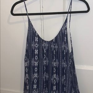 Blue and white pattern flowy dress
